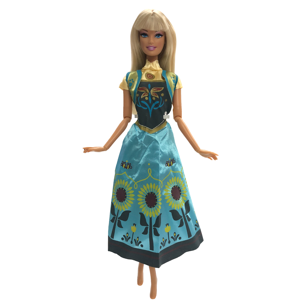 NK One Set Princess Doll Elsa Movie Similar Dress Fairy Tale Wedding Dress Gown Party Outfit For Barbie Doll Best Girls' Gift 06