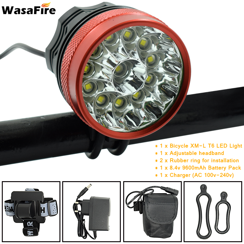 12 LED 2 in 1 Scheinwerfer 20000 Lumen 12x XM-L T6 LED Fahrrad Licht Radfahren Fahrrad Kopf Lampe + 9600 mah 18650 Batterie Pack + Ladegerät