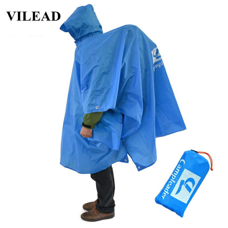 Vilead 4 Colors 3 In 1 Raincoat Sun Shelter Camping Mat Outdoor Hiking Climbing Camping Picnic Beach Pergola Awning Rain Cover