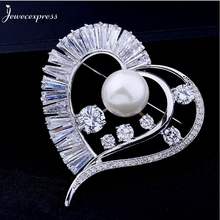 Jewecexpress  Popular bright heart zircon pearl Brooches Women jewelry Party wedding Christmas gift