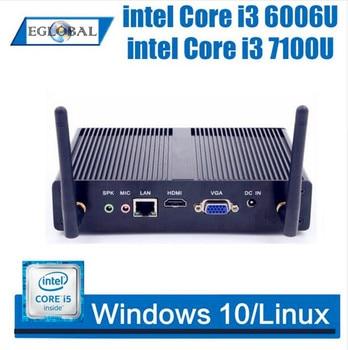 EGLOBAL Mini PC Windows 10 Intel Core I3 7100U Celeron 3205U Dual Core Fanless Mini Desktop HDMI VGA WiFi Nettop HTPC
