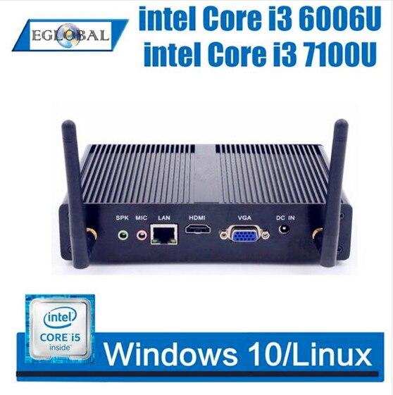 Mini PC complet Windows 10 Intel Core i3 7100U Celeron 3205U double coeur sans ventilateur Mini bureau HDMI VGA WiFi Nettop HTPC
