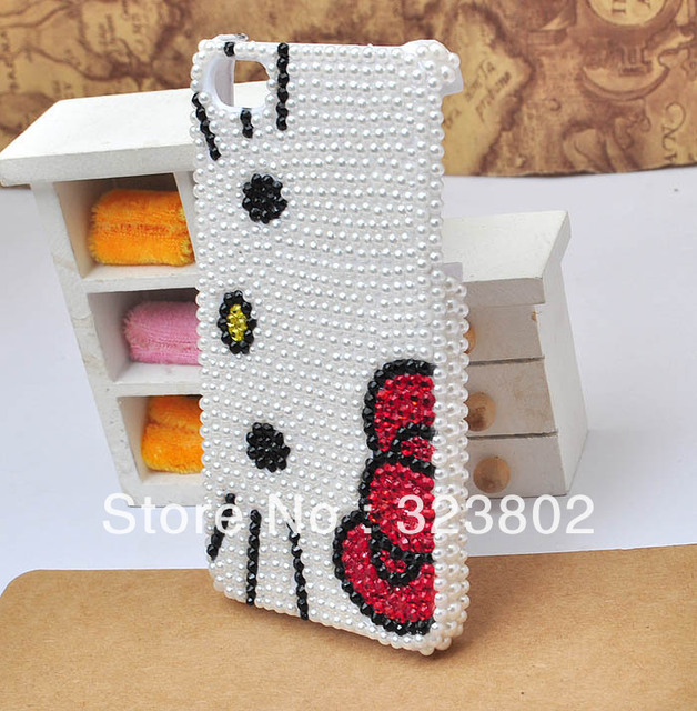 Handmade White Hard Cell Phone Case or Cover For iPhone 4 4s 5, Pearl Big Face Hello Kitty Shell, Free Shipping