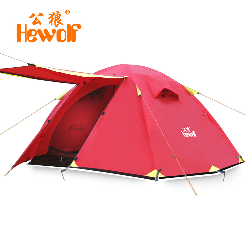 Hewolf 2 Persons Tent mosquito net Double Layer Rainproof Outdoor Tourist Camping Tent for Hiking Fishing Hunting DHL free high quality outdoor 2 person camping tent double layer aluminum rod ultralight tent with snow skirt oneroad windsnow 2 plus