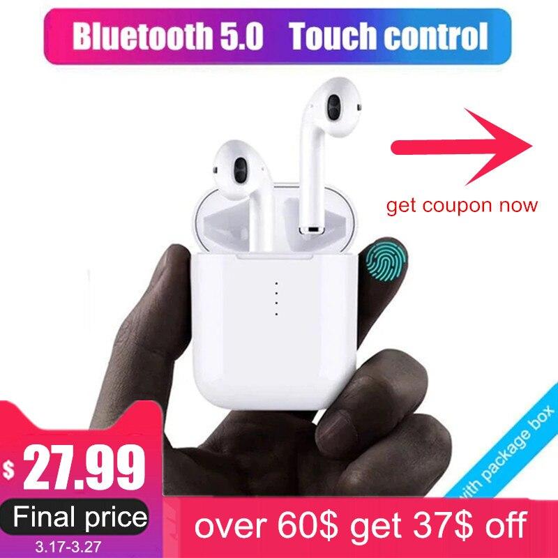 Neue i10 tws Bluetooth Kopfhörer Drahtlose kopfhörer Touch control Ohrhörer 3D Surround Sound & Lade fall für alle smartphone
