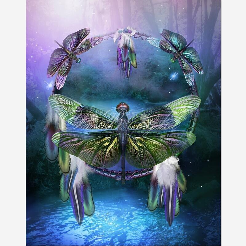 DIY diamante pintura espíritu de la mosca del Dragón Cruz puntada costura casa decorativa cuadrados diamante bordado artes LRR
