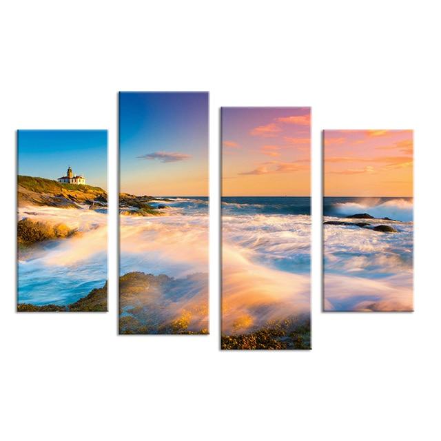 4 STÜCKE Natur Kunst Sonnenuntergang Seascape Wellen Wandmalerei Leinwand  Für Wohnkultur Ideen Farben Auf Wand Bilder
