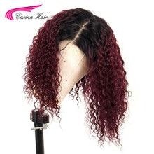 Цветные кудрявые Omber 13*6 глубокая часть кружева спереди человеческие волосы закрытие парик предварительно сорвал с волосами младенца бразильские Remy