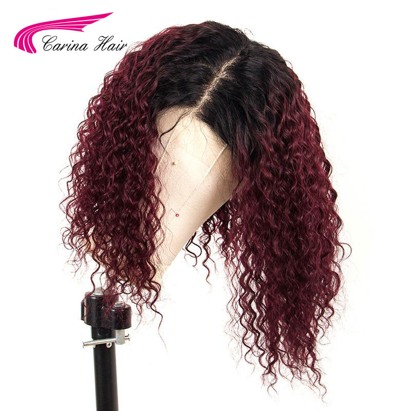 Colored Curly Omber 13*6 Deep Part Lace Front Human Hair Closure Wig Pre Plucked With Baby Hair Brazilian Remy