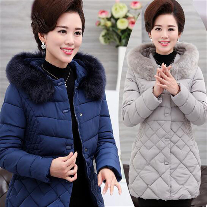 Ladies Parkas Women Large Fur Collar Female Warm Winter Coat Outwear Elegant Thick Padded Cotton Coat Plus Size 3Xl 4Xl A4068 2017 new fashion ladies thick warm winter jacket women slim parkas female large fur hooded cotton coat plus size s 3xl cxm197