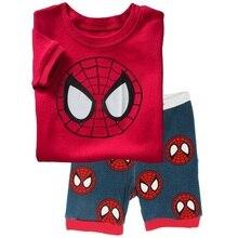 Купить с кэшбэком Spider-Man 2018 Summer Children's Pajamas Boys Pijamas Suits Kids Tee Shirts Tops Trouser Pyjamas Free Shipping