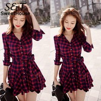 Dress Women 2016 Vintage Long Sleeve Red Plaid Check Lapel Buttons Pleated Shirt Dresses Spring Casual