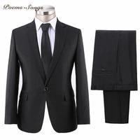 Poems Songs 2018 Dark Gray Men's Suits Business Suit Classic Male Suits Wedding Suits For Men costume homme trajes de hombre