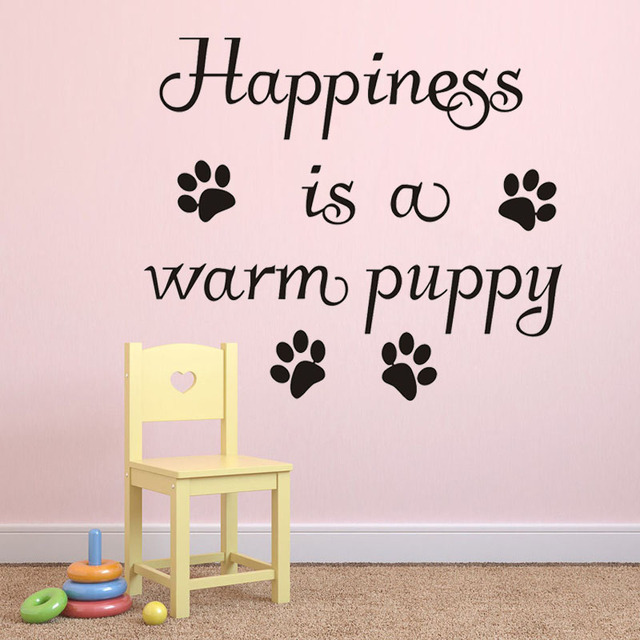 Zooyoo happiness is a warm puppy wall sticker home decor living room removable dog paw print
