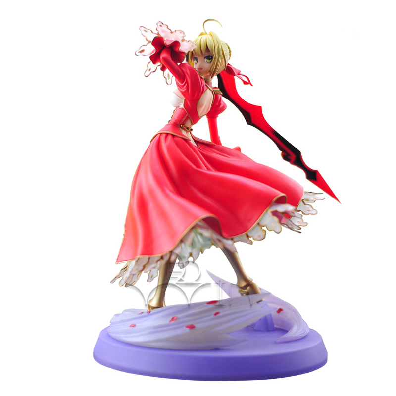 New Fate Stay Night Extra Red Saber Lily 1/8 Scale PVC Figure Figurine 23cm fate stay night fate extra red saber pvc figure toy anime collection new