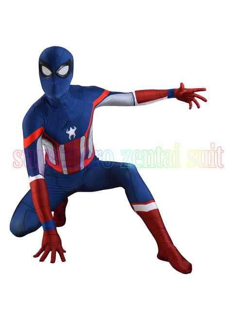 Captain America Spider-man costume halloween cosplay fullbody zentai costume  masculin enfants femelle b37f159a84c