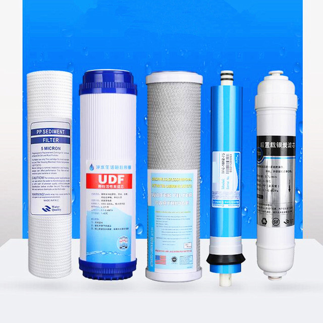 ac8dd127d77d RO Water Purifier Filter Cartridge 5 Stages PP+UDF+CTO+75 gpd RO Membrane+ T33 Activate Carbon Water Filters For Household