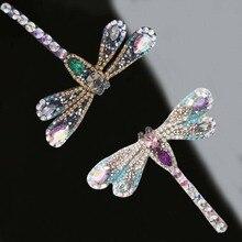 2 adet Rhinestone dragonfly Boncuklu Yama için Giyim Dikiş Boncuk Aplike Elbise ayakkabı çantaları Dekorasyon Yama DIY Giyim