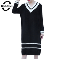 Oladivi Plus Size Women Clothing Casual Ladies Sweater Dress Long Tunic Female Knitted Pullovers Tops Vestidos