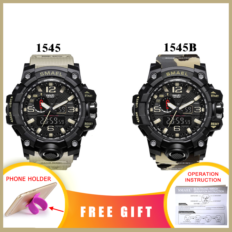 SMAEL Brand Men Sports Watches Dual Display Analog Digital LED Electronic Quartz Wristwatches Waterproof Swimming Military Watch 2