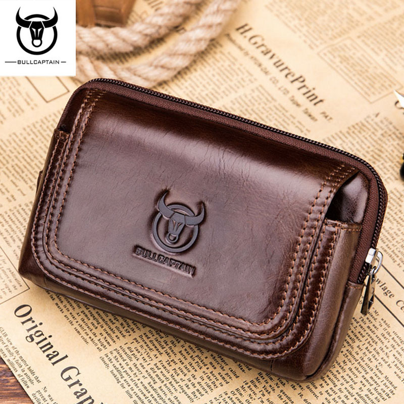 BULL CAPTAIN  Genuine Leather  Famous Brand Men Cell Mobile Phone Case Cover Purse Cigarette Money Hip Belt Waist Bag Wallet Gif