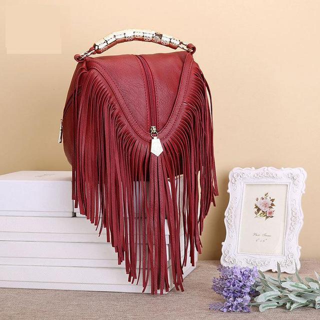 Лидер продаж, модные женские сумки через плечо с кисточками, сумки тоуты из искусственной кожи, сумки мессенджеры с металлическими блестящими ручками, сумки с бахромой