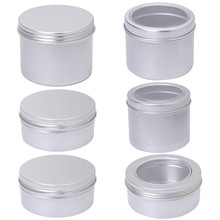 180ML aluminum empty cosmetic jar tin silver transparent top view window silver box