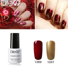 Elite99 Bling Nail UV Polish Gel Varnish Gorgeous Soak Off Red Gold Gel Polish Lacquer for Chirstmas Bell Nail Art Design