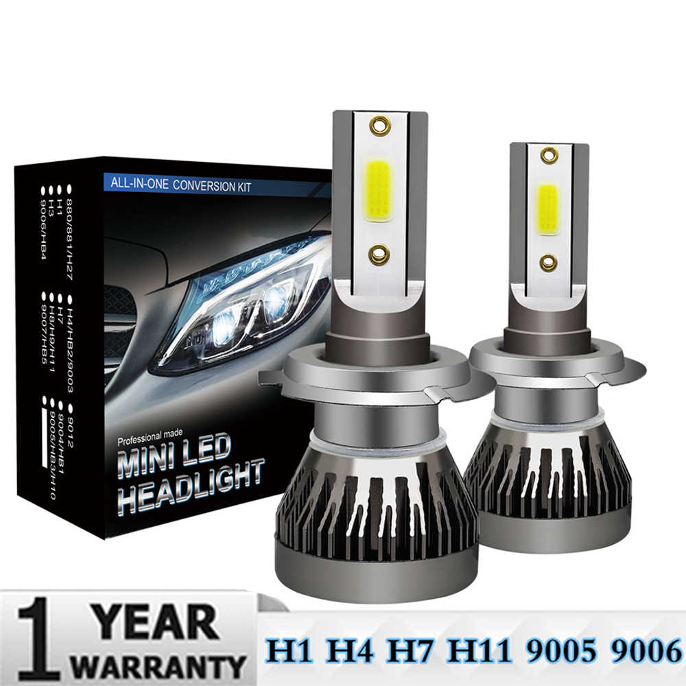 2Pcs Mini H7 LED Bulb H1 H4 H11 HB3 HB4 9005 9006 LED Car Headlight Bulbs Kit 9000LM 36W Auto Headlamp 6000K Car Lights 12V 24V