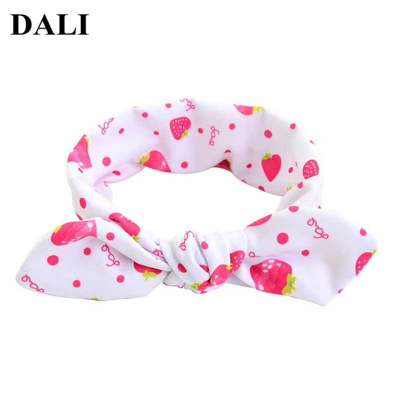 DALI 2018 Baby Toddler Strawberry Bow Knot Rabbit Ears Headband Hair Accessories Dots Hairband Toddler Turban Headwrap Babies