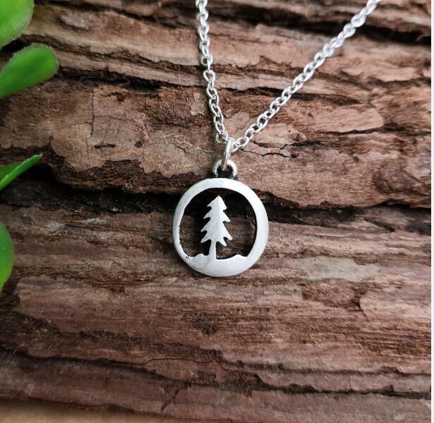 SanLan 1 шт., античное посеребренное высококачественное ожерелье с сосновым деревом, натуральное ожерелье с деревом жизни, ювелирные изделия для пустыни - Окраска металла: Покрытие антикварным серебром