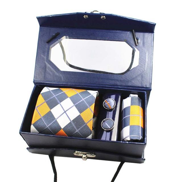 Nuevo diseño de corbata tejido de seda pañuelo gemelos