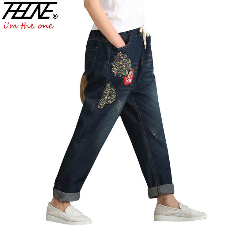 THHONE Embroidered Jeans Women Vintage Denim Harem Pants Elastic Waist Casual Trousers Loose Vaquero Plus Size Jeans Female loose stretch harem jeans with elastic waist woman elasticity harem jeans trousers for women pants large size