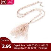 70a79a07ee84 Badu largo collar de perlas de cristal de plumas de avestruz colgante de  las mujeres collares Bohemia joyería de moda 3 colores .