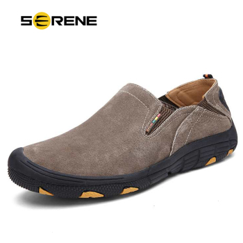 SERENE Brand New Non Slip Shoes Casual Shoes Genuine Leather Loafers Men Breathable Flats Men Waterproof Loafers Anti-Collision