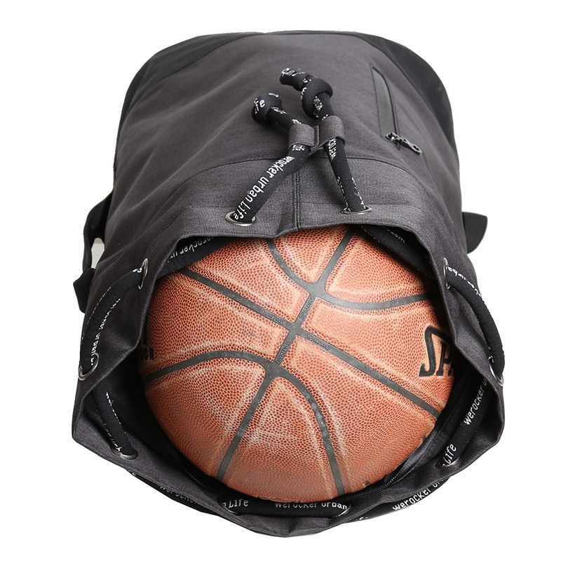 Likros Outdoor Training Basketball Backpack Fitness Backpack Mens Large Capacity Drawstring Canvas Buckets Letters L363K