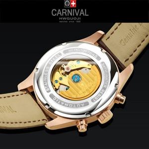 Image 4 - Carnival Top Brand Luxury Mens Watches Sapphire Fashion Mechanical wrist Watch Multifunction 6 Hands moon phase waterproof reloj