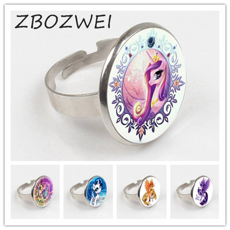 ZBOZWEI 2018 Hot Horse Ring Animal Ring Glass Cabochon Ring Art Ring Jewelry Handmade in Rings from Jewelry Accessories