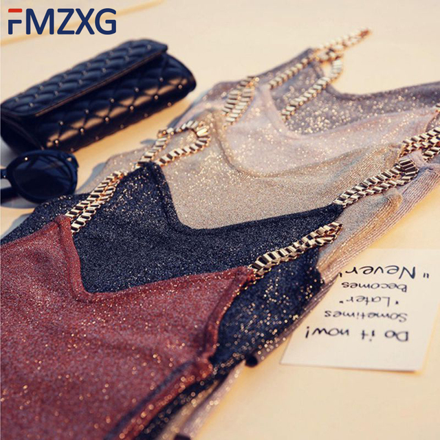 Women Sleeveless Tank Tops Sexy Female V-Neck Knitted Camisole Club Girls Metal Strap Camis Thin Shiny Glitter Bling