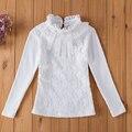 Muchachas de los cabritos ropa 2017 primavera niños clothing girls blusa de encaje rebordear camisa de algodón niño niña de la escuela blusa blusas 3 colores