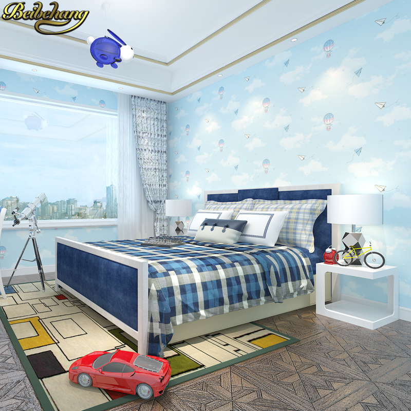 beibehang papel de parede 3D Blue sky white clouds wallpaper for Living Room Bedroom Wall paper Children's room home decoration beibehang papel de parede 3d living room bedroom of wall paper roll non woven wallpaper for bedroom living room home decoration