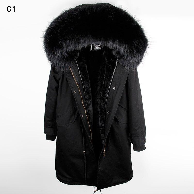 MAOMAOKONG 2018 lange jas jas Parka Mujer Jas plus size winter natuurlijke wasbeer parka zwart bontvoering jas - 3