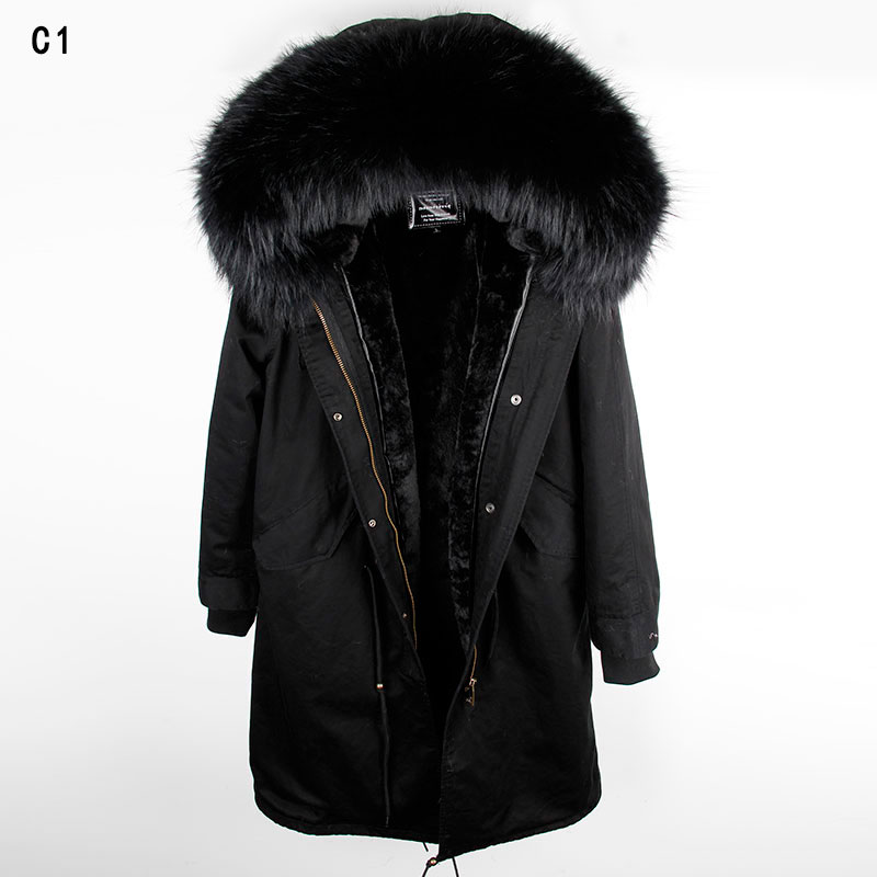 MAOMAOKONG 2018 длинная куртка пальто парки Женское пальто плюс размер зимние парки из натурального енота черная меховая подкладка куртка - 3