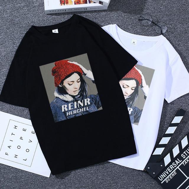 Vrouwen tshirt top 2019 cartoon vogue t-shirt Vrouwen Zomer Losse Korte Mouwen t-shirt femme Koppels Casual Kleding zwart TopsTee