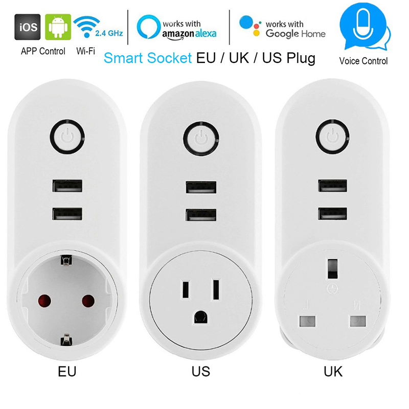 Smart Plug EU US UK Socket With 2 USB Charger Outlet Wifi Control Timer Switch Function Voice Control Alexa Echo Google IFTTT