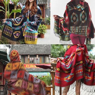 Top New Women Cape Poncho Shawl Scarf Tribal Fringe Hooded Bohemian Coat Jacket como rasgar uma camiseta feminina