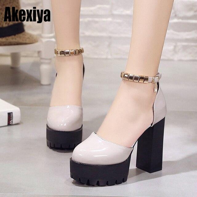 b2c7a5e135c Spring Thick Super High Heels Women Flock Pumps Summer Ladies Party Ankle  Wrap Platform Shoes Light gray black red d529