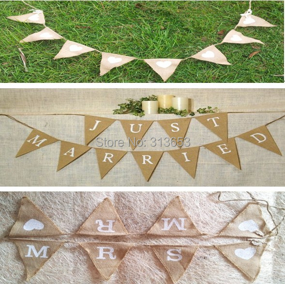 3Pack/ Lot Jute Country Wedding Decorations Flag Wedding Decoration Props  Event U0026 Party Supplies(
