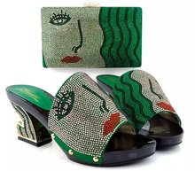 2016 New coming African sandals Italian shoes and bags to match,GREEN color shoes with bag set !!  MQQ1-14