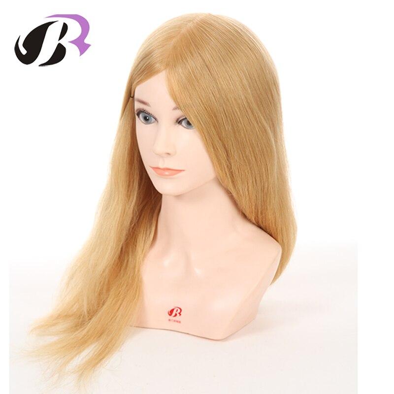 Лидер продаж Блондинка 20 100% натуральные волосы Учебные головы-манекены для парикмахеров прически Обучение манекен голова куклы с плеча